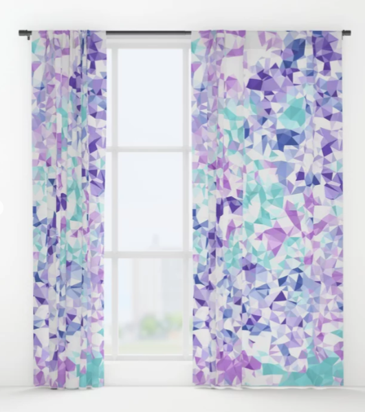 Jewel Tone Geometric Low Poly Abstract Window Curtains