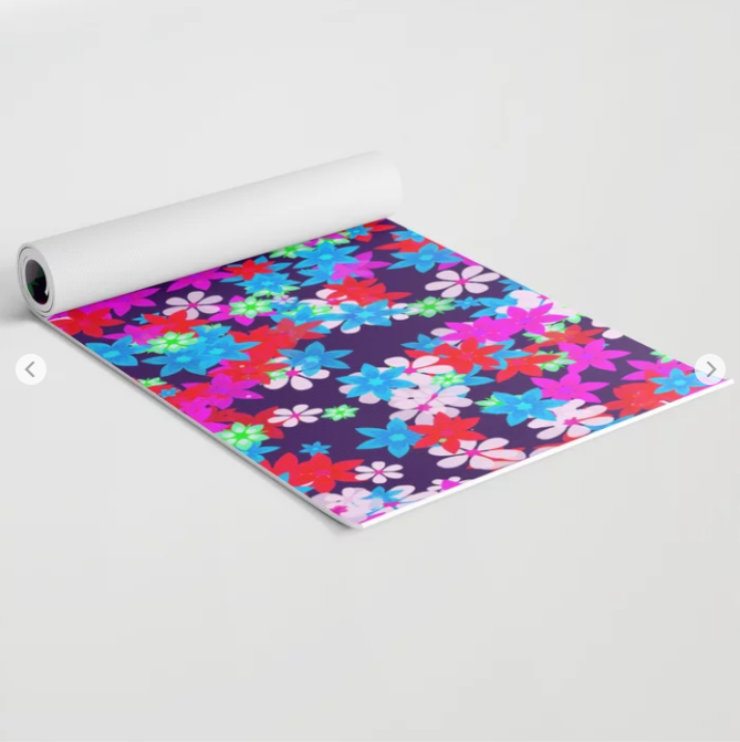 Colorful Funky Floral Yoga Mat