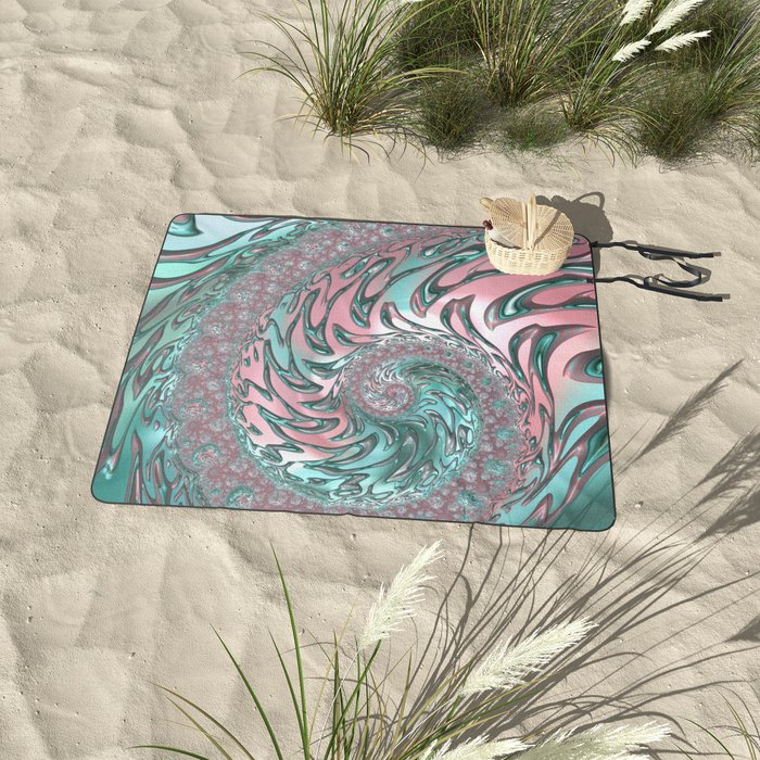 Pink and Turquoise Spiral Fractal Picnic Blanket
