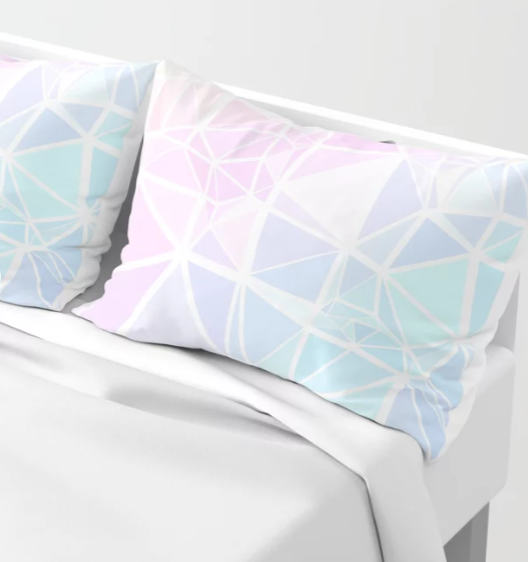 Low Poly Pastel Stained Glass Style Gradient Pillow Cases